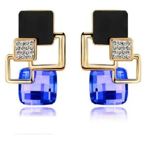 Jewelry - Royal Blue CZ Gold Square Statement Earrings